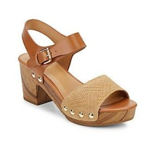 Nine West Clueless Wooden Platform Clog Sandals
